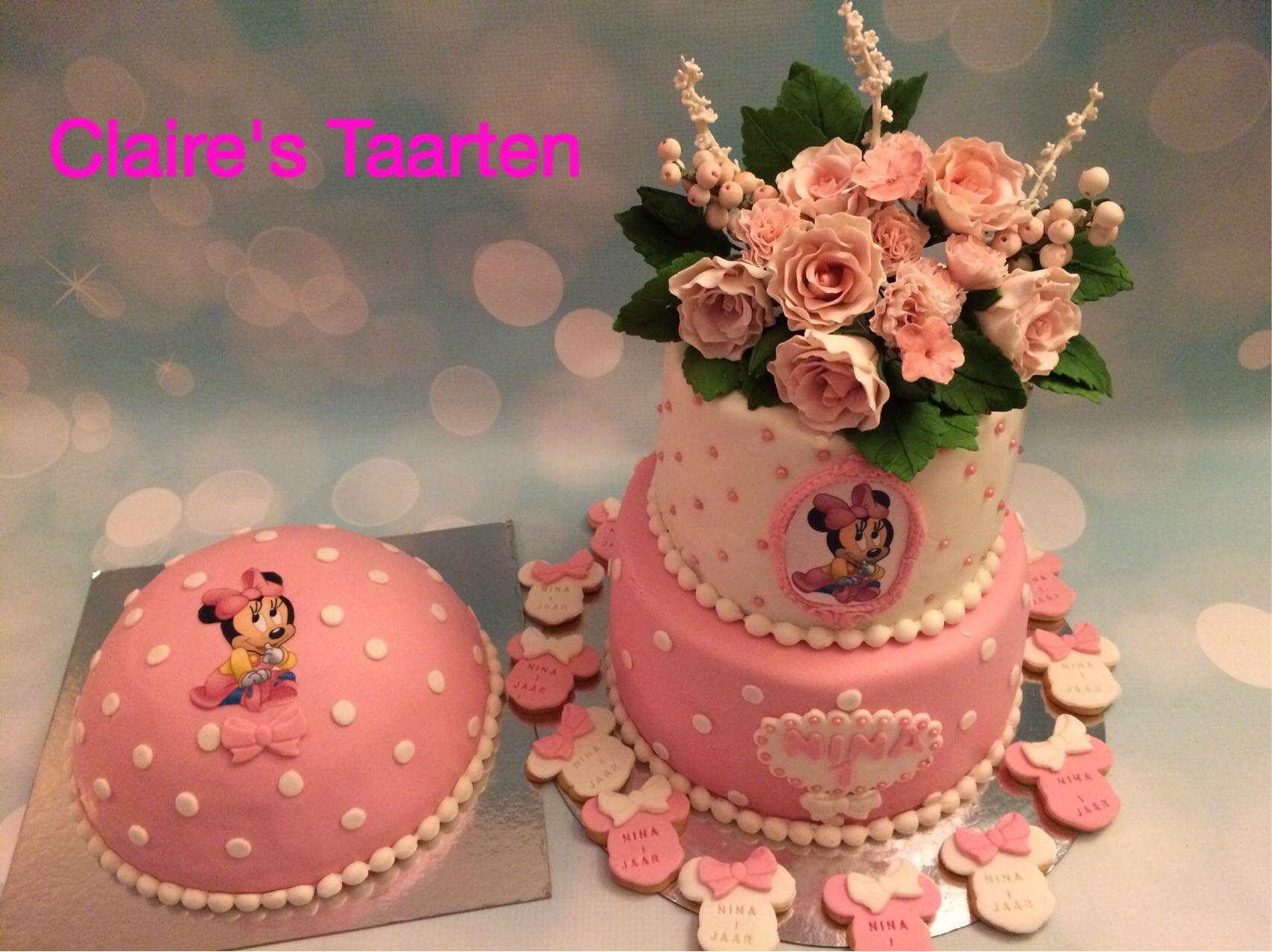 Eetbare bloemen , fondant bloemen , sugarflowers , kindertaart , taart 1 jaar , Minie Mouse taart , taart Rotterdam , Minie Mouse taart Rotterdam ,